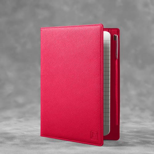 Записная книжка В7 с ручкой, цвет маджента