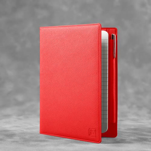 Записная книжка В7 с ручкой, цвет красный