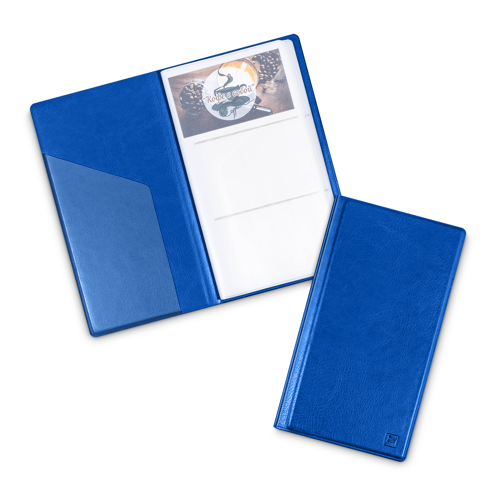 Визитница настольная, цвет синий Classic