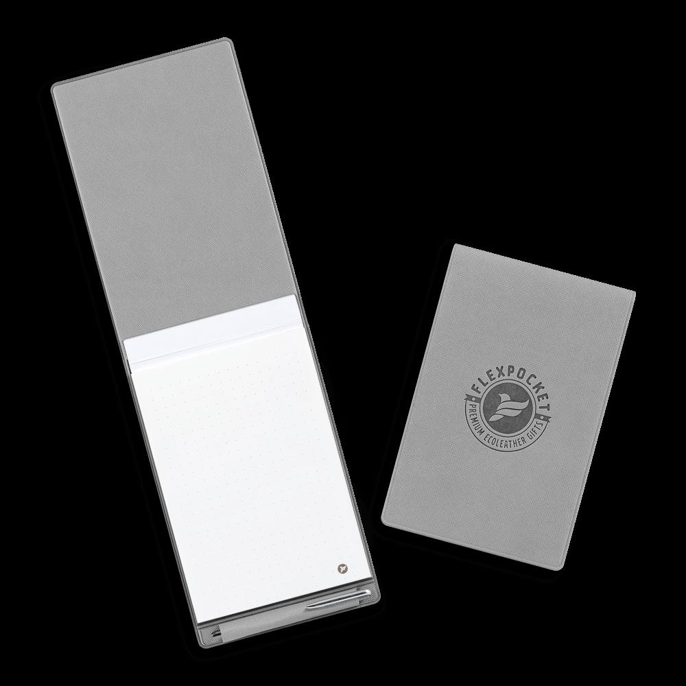 Блокнот B7 с ручкой, цвет светло-серый