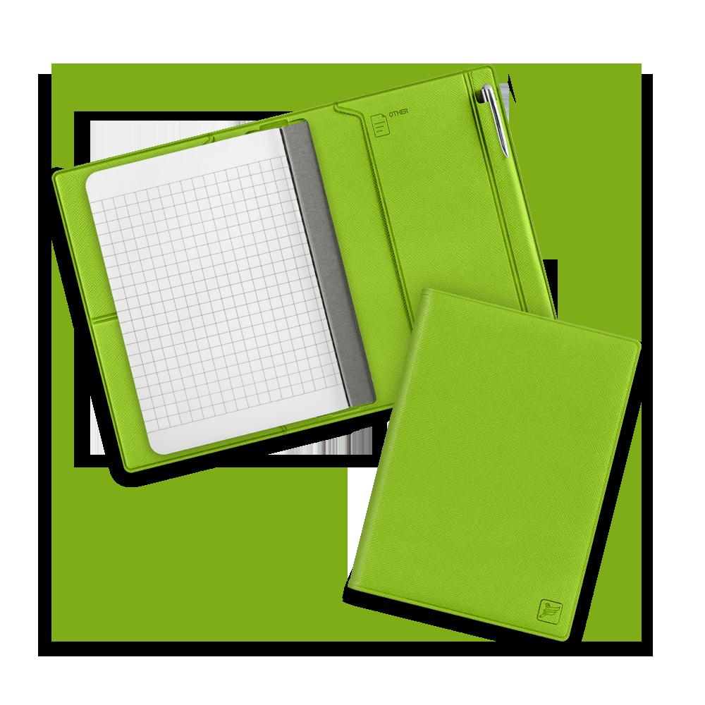 Записная книжка В7 с ручкой, цвет зеленый